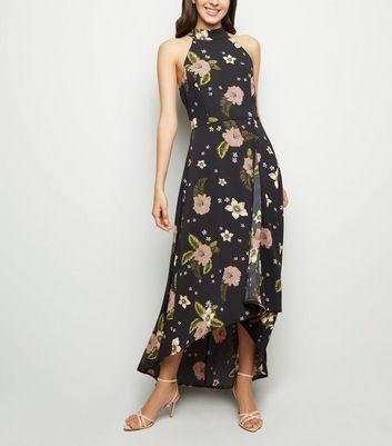 Mela Black Floral Dip Hem Maxi Dress New Look