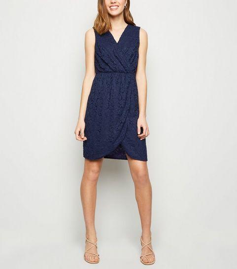 42bc26e097 ... Mela Navy Lace Wrap Front Dress ...