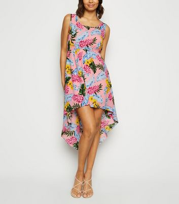 Mela Pink Tropical Print Dip Hem Dress
