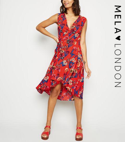 6ea1feb68e8a ... Mela Red Floral V Neck Wrap Dress ...