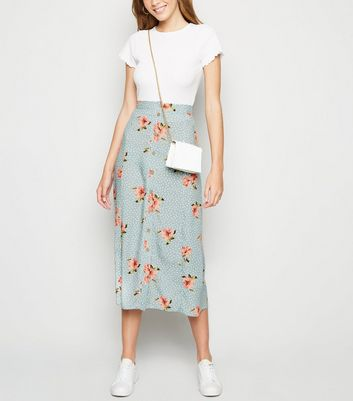 Blue Floral Spot Button Up Midaxi Skirt
