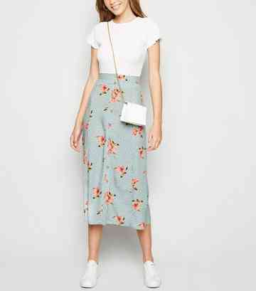 5ef6a6cca6 Blue Floral Spot Button Up Midaxi Skirt ...