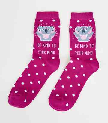 Pink Koala Kind To Your Mind Slogan Socks
