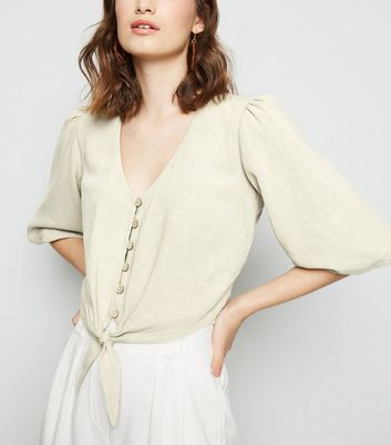 Stone Linen Look Tie Button Front Top