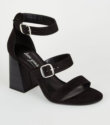 Black Suedette Wood Flared Heel Sandals