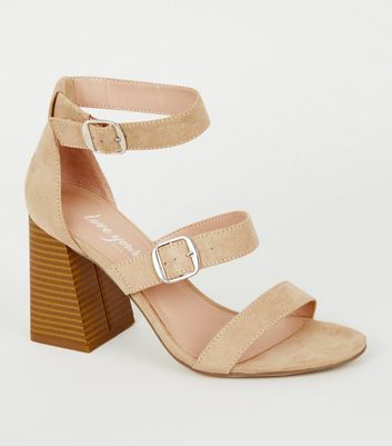 Light Brown Suedette Wood Flared Heel Sandals