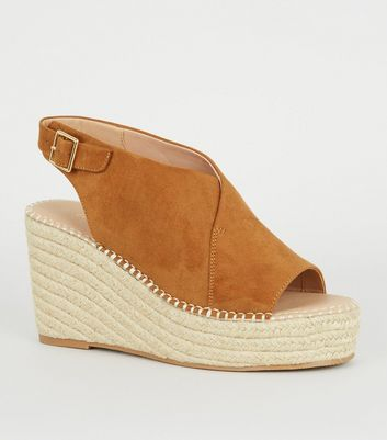 Tan Suedette Espadrille Wedges
