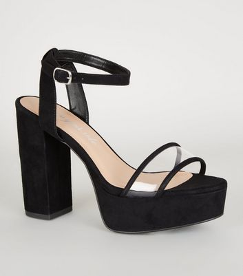 Black Suedette Clear Strap Block Heels