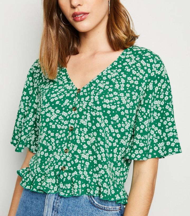 33f51684 Green Floral Button Up Frill Hem Shirt | New Look