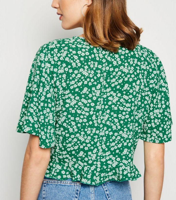 806551c5 ... Green Floral Button Up Frill Hem Shirt. ×. ×. ×. Shop the look