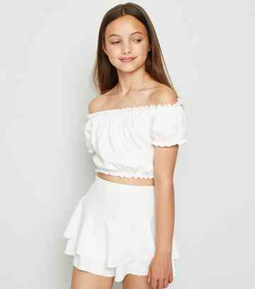 Girls White Crepe Ruffle Skort