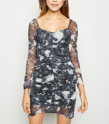 Innocence Black Tie Dye Ruched Mesh Dress New Look