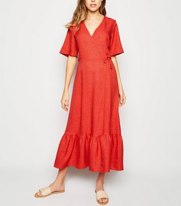 Red Tiered Hem Wrap Midi Dress