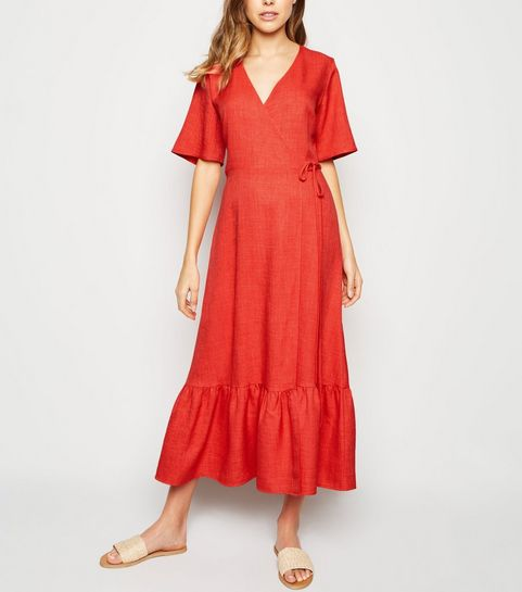 685c4da5544a ... Red Tiered Hem Wrap Midi Dress ...