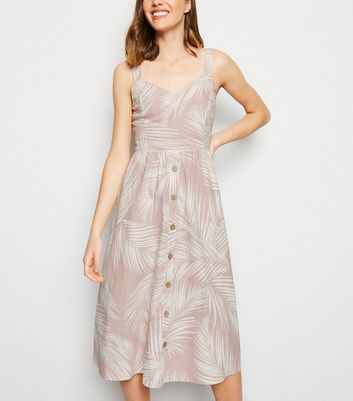 Pink Palm Linen Blend Midi Dress