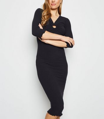 Black Ring Front Ribbed Bodycon Midi Dress