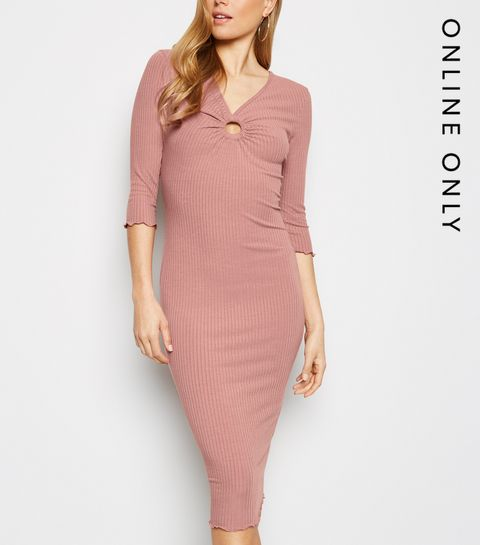 a6ffe77370c9 ... Pale Pink Ring Front Ribbed Bodycon Midi Dress ...