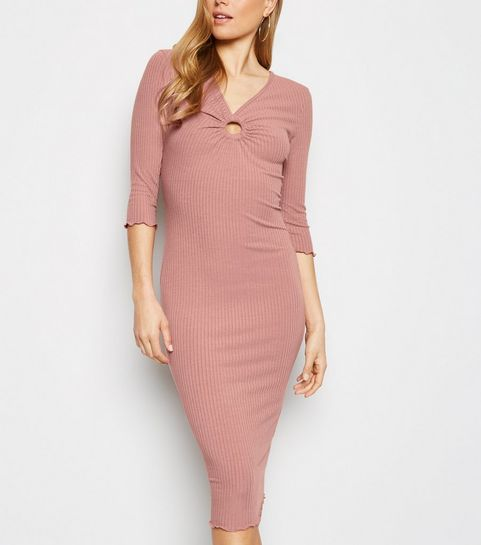 e5ba2bc5ed8 ... Pale Pink Ring Front Ribbed Bodycon Midi Dress ...