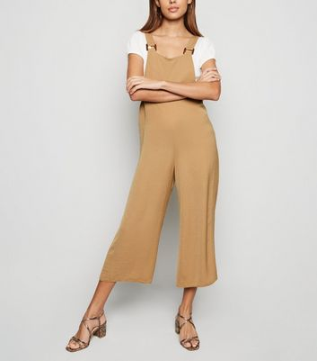 Camel Buckle Herringbone Dungaree Jumpsuit
