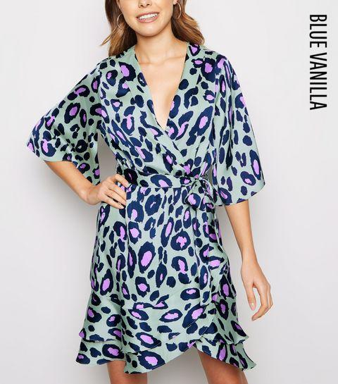 daaceef3c0a ... Blue Vanilla Green Leopard Print Mini Wrap Dress ...
