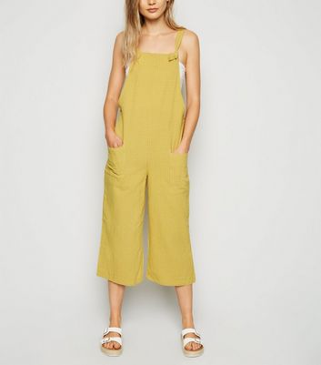 Yellow Grid Check Dungarees