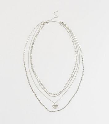 Silver Layered Diamanté Necklace