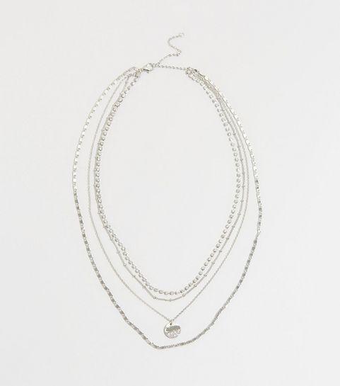df294156f2b Silver Layered Diamanté Necklace · Silver Layered Diamanté Necklace ...