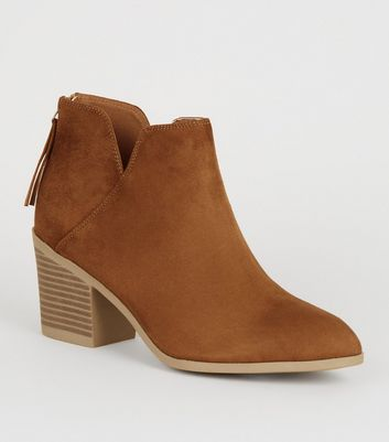 Wide Fit Tan Mid Block Heel Ankle Boots