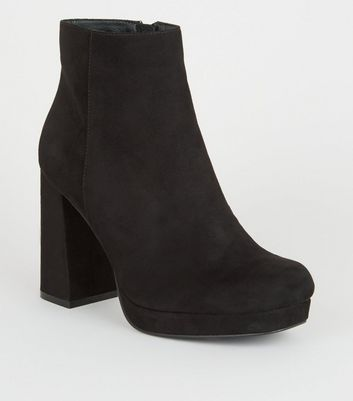 Wide Fit Black Suedette Platform Ankle Boots