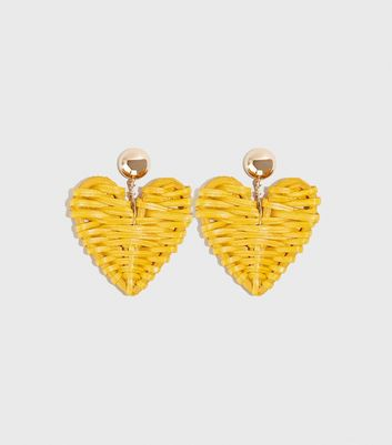 Mustard Woven Straw Heart Earrings