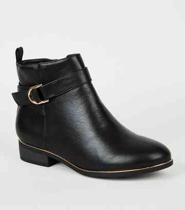 Wide Fit - Boots noires en similicuir