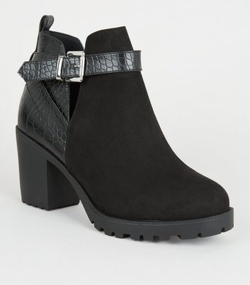 Wide Fit Black Faux Croc Panel Ankle Boots