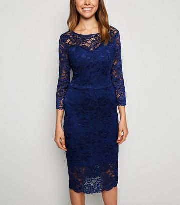 Navy Lace Long Sleeve Bodycon Dress
