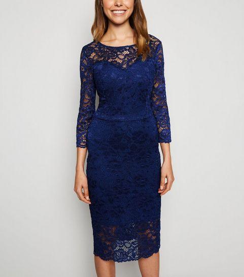 82e6c1d2 ... Navy Lace Long Sleeve Bodycon Dress ...