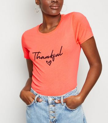 Coral Neon Thankful Slogan T-Shirt