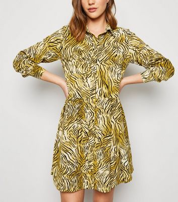 Brown Tiger Print Smock Shirt Dress