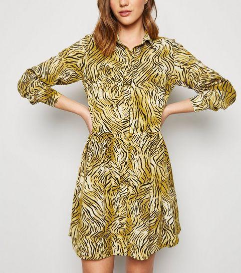 bcdb35e2626 ... Brown Tiger Print Smock Shirt Dress ...