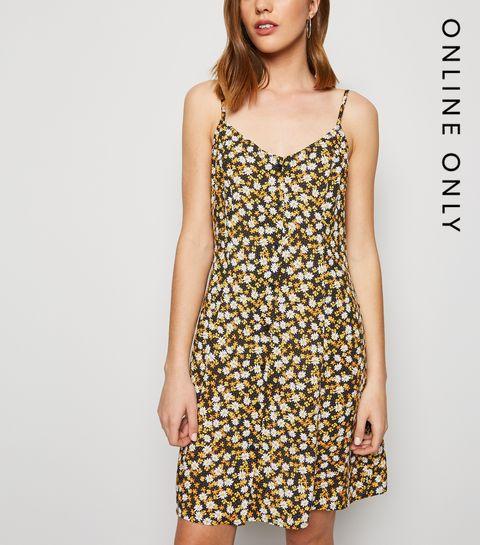 025c1df55ef ... Black Floral Button Up Mini Dress ...