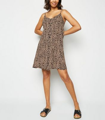 Brown Leopard Print Button Up Dress