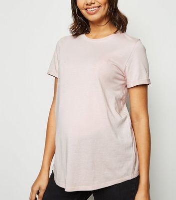 Maternity Pale Pink Roll Sleeve T-Shirt
