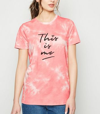 Coral Tie Dye This Is Me Slogan T-Shirt