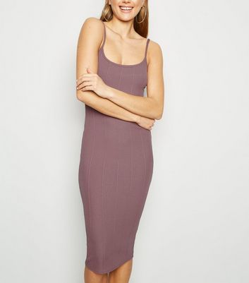 Mink Ribbed Bodycon Midi Dress