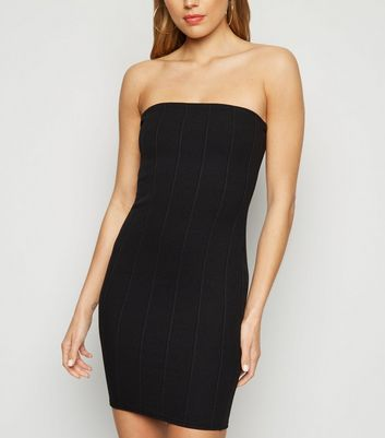 Black Ribbed Bandeau Midi Dress