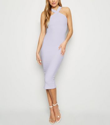 Lilac Ribbed Cross Strap Front Midi Dress