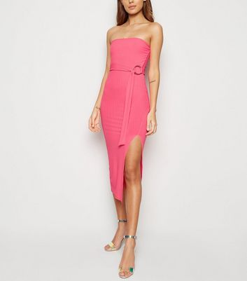 Bright Pink Neon Bandeau Belted Midi Dress