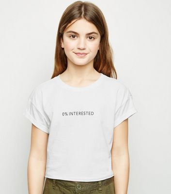 "Girls – Weißes T-Shirt mit ""0% Interested""-Slogan"