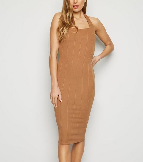 f484b0759f8 ... Camel Ribbed Halterneck Midi Dress ...