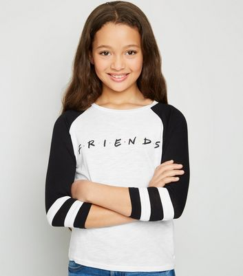 Girls White Friends Raglan Logo T-Shirt