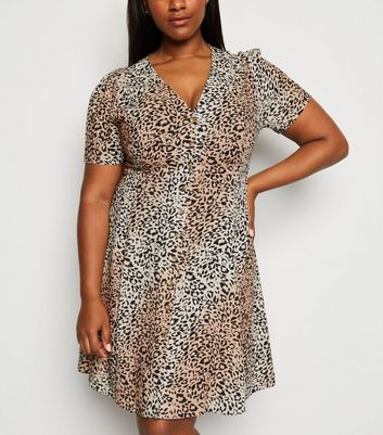 Curves Brown Leopard Print Button Up Tea Dress