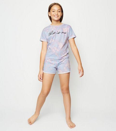 d533e7ce990b9 ... Girls Pink Tie Dye This Is Me Slogan Pyjama Set ...